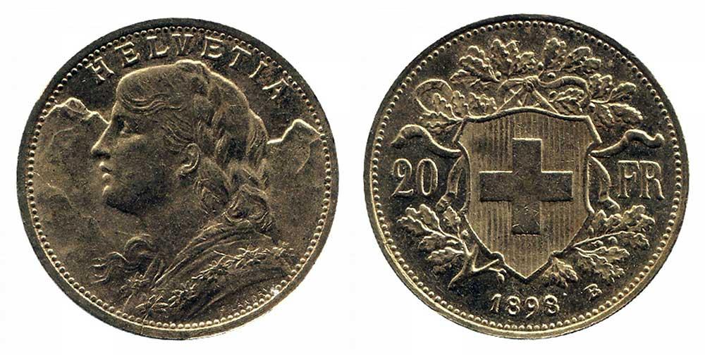 Avers et revers de la 20 francs suisse vreneli 1898 en Or, une Pièce d'Or de 5,80 gramme.