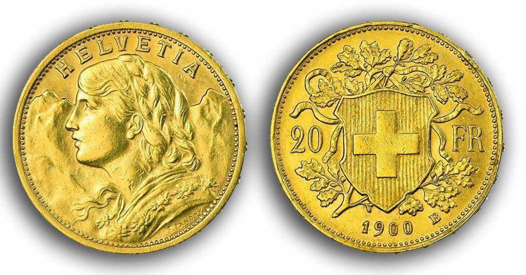 cara y cruz de la moneda de 20 francos suizos vreneli 1900, una moneda de oro de 5,80 gramos.