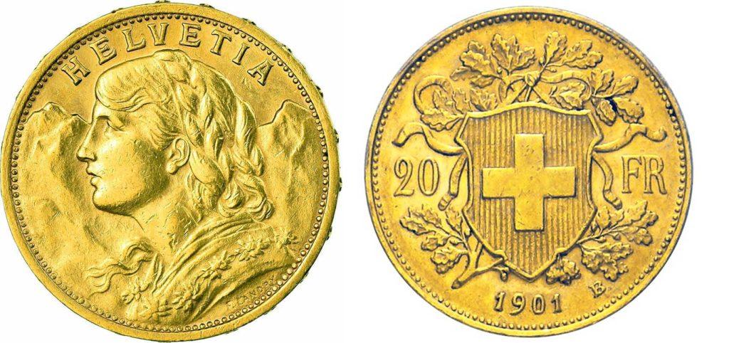 Avers et revers de la 20 francs suisse vreneli 1901 en Or, une Pièce d'Or de 5,80 gramme.
