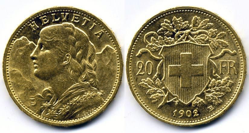 cara y cruz de la moneda de 20 francos suizos vreneli 1902, una moneda de oro de 5,80 gramos.