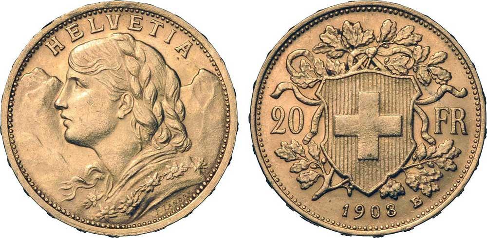 Avers et revers de la 20 francs suisse vreneli 1903 en Or, une Pièce d'Or de 5,80 gramme.