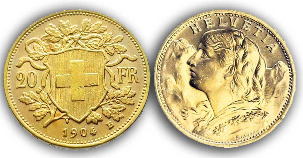 Avers et revers de la 20 francs suisse vreneli 1904 en Or, une Pièce d'Or de 5,80 gramme.