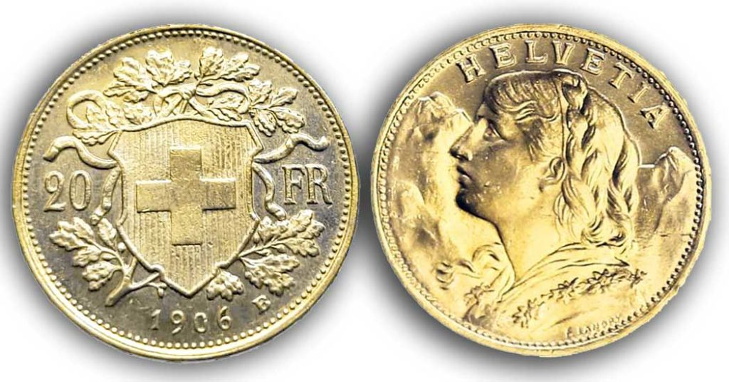 cara y cruz de la moneda de 20 francos suizos vreneli 1906, una moneda de oro de 5,80 gramos.