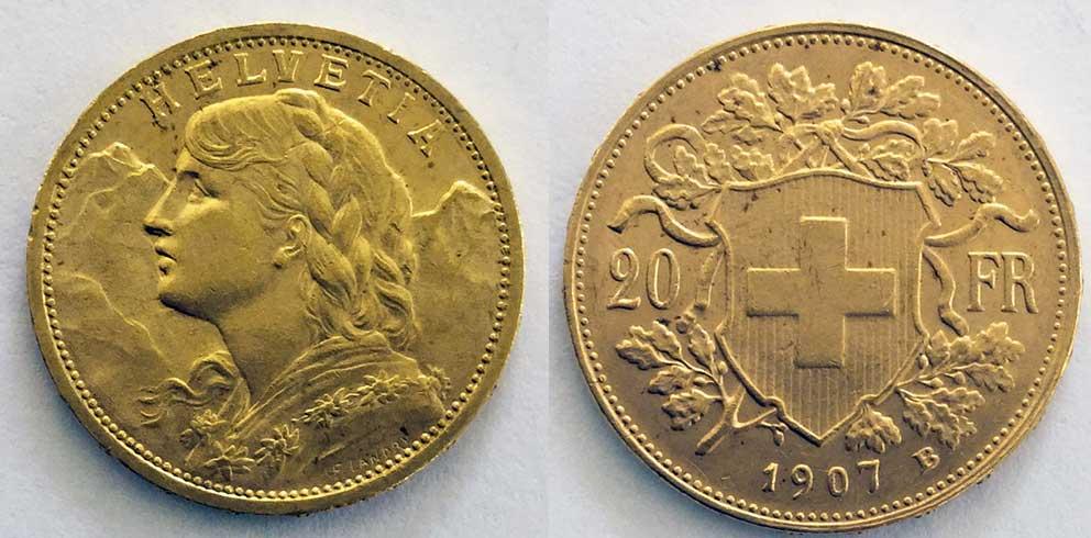 Avers et revers de la 20 francs suisse vreneli 1907 en Or, une Pièce d'Or de 5,80 gramme.