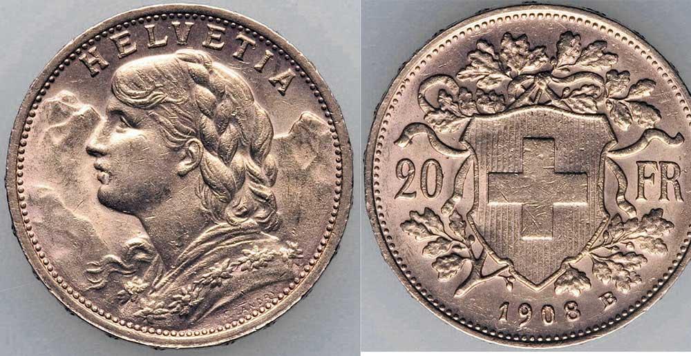 Avers et revers de la 20 francs suisse vreneli 1908 en Or, une Pièce d'Or de 5,80 gramme.