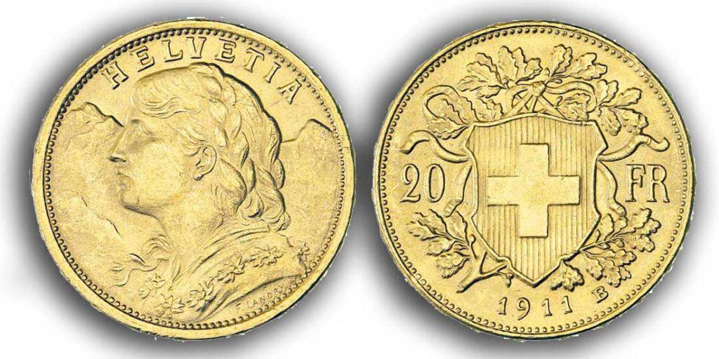 cara y cruz de la moneda de 20 francos suizos vreneli 1911, una moneda de oro de 5,80 gramos.