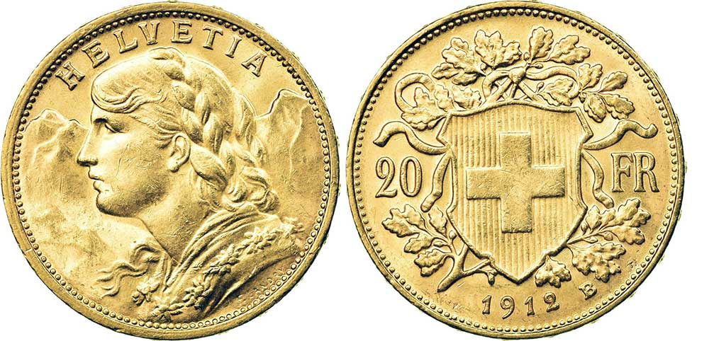 Avers et revers de la 20 francs suisse vreneli 1912 en Or, une Pièce d'Or de 5,80 gramme.