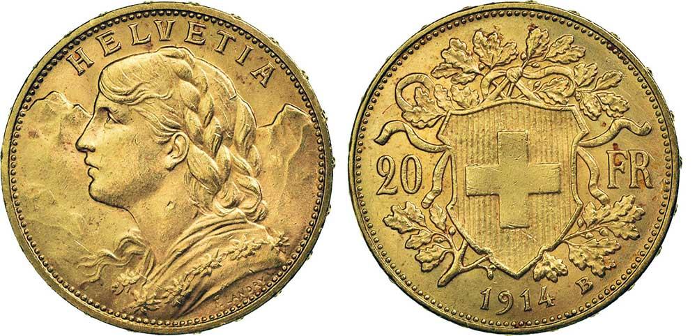 Avers et revers de la 20 francs suisse vreneli 1914 en Or, une Pièce d'Or de 5,80 gramme.