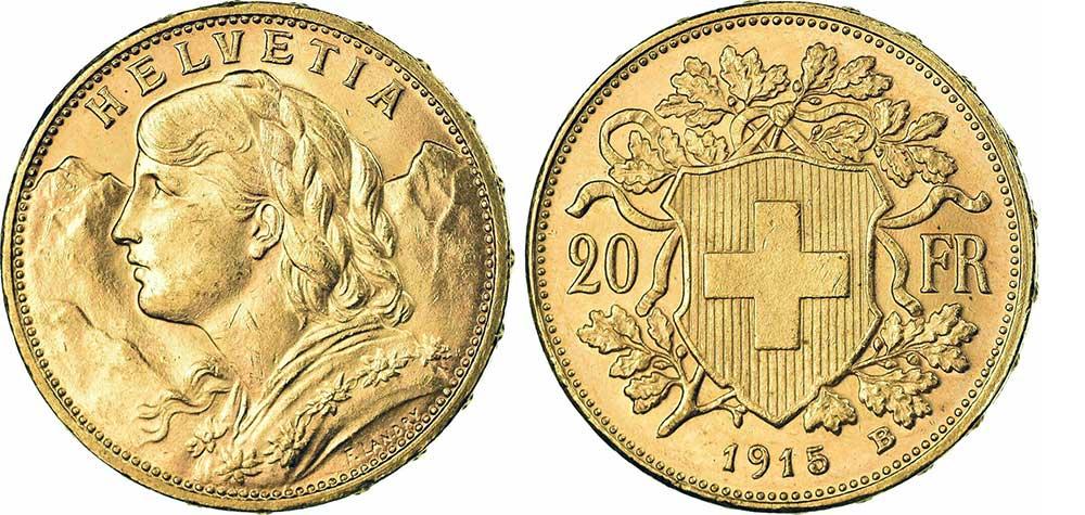 cara y cruz de la moneda de 20 francos suizos vreneli 1915, una moneda de oro de 5,80 gramos.