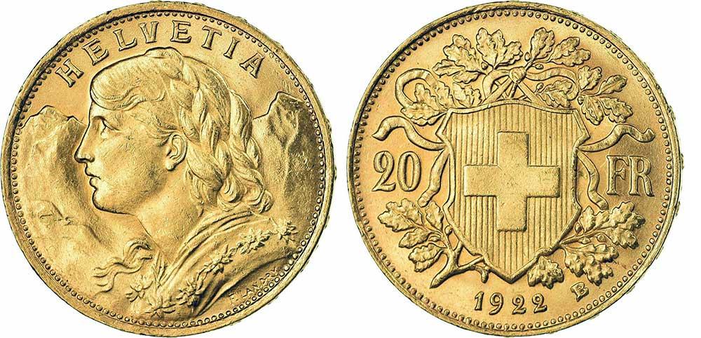 Avers et revers de la 20 francs suisse vreneli 1922 en Or, une Pièce d'Or de 5,80 gramme.