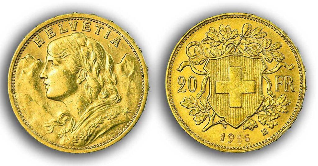 Avers et revers de la 20 francs suisse vreneli 1925 en Or, une Pièce d'Or de 5,80 gramme.