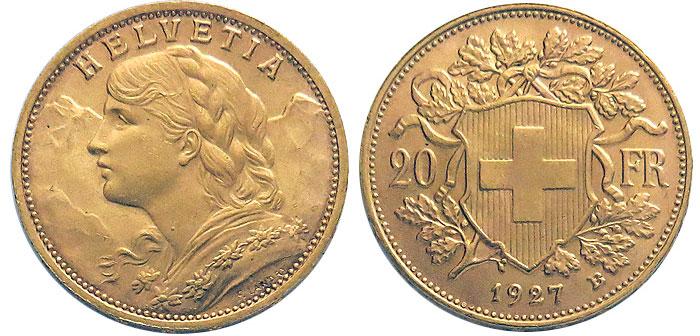 cara y cruz de la moneda de 20 francos suizos vreneli 1935, una moneda de oro de 5,80 gramos.