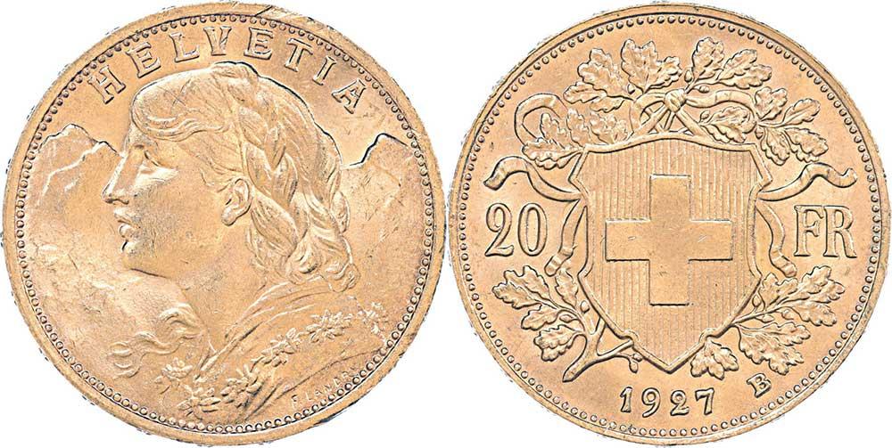 Avers et revers de la 20 francs suisse vreneli 1927 en Or, une Pièce d'Or de 5,80 gramme.