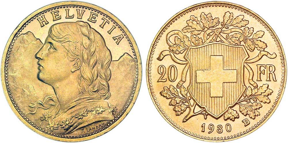 cara y cruz de la moneda de 20 francos suizos vreneli 1930, una moneda de oro de 5,80 gramos.