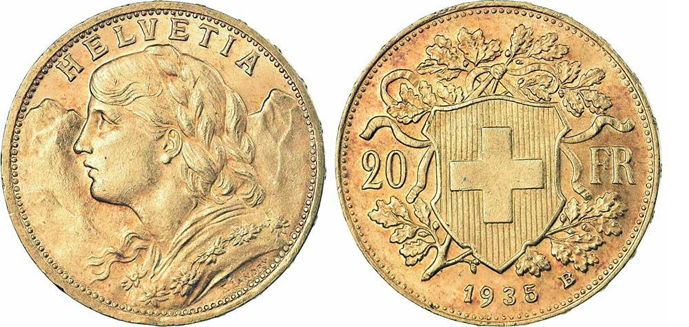 Avers et revers de la 20 francs suisse vreneli 1935 en Or, une Pièce d'Or de 5,80 gramme.