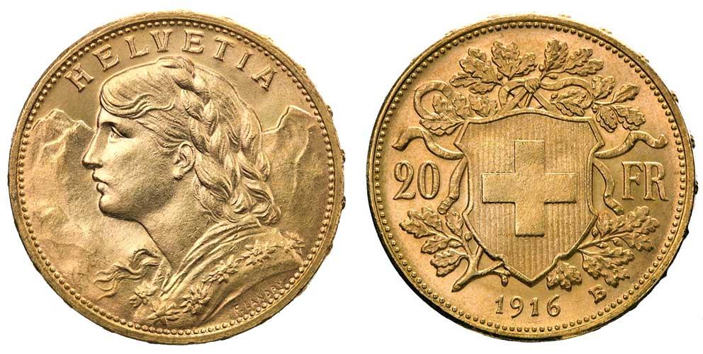 cara y cruz de la moneda de 20 francos suizos vreneli 1916, una moneda de oro de 5,80 gramos.