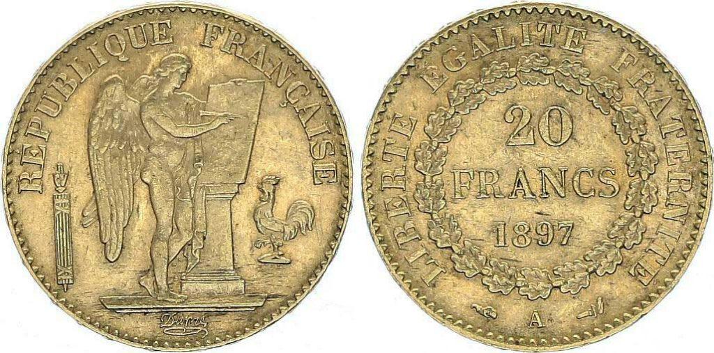Avers y Revers de la 20 Francs en Or Génie 1897 A. Le napoléon or 1897A est une Pièce d'Or française de 5,80 gramme d'or fin d'un diamètre de 21,0 mm.