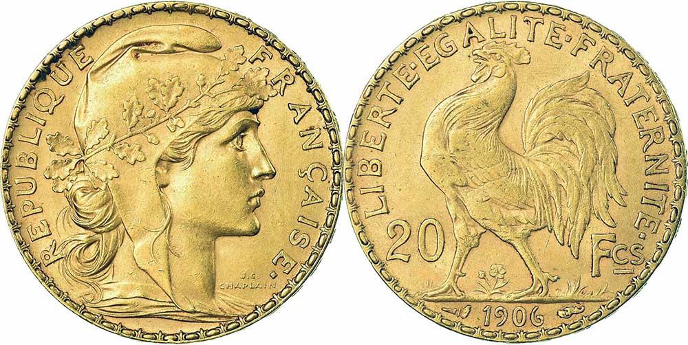 Avers y Revers de la 20 Francs en Or Coq Marianne 1906. Le napoleon or 1906 est une Pièce d'Or francaise de 5,80 gramme d'or fin d'un diamètre de 21,0 mm.