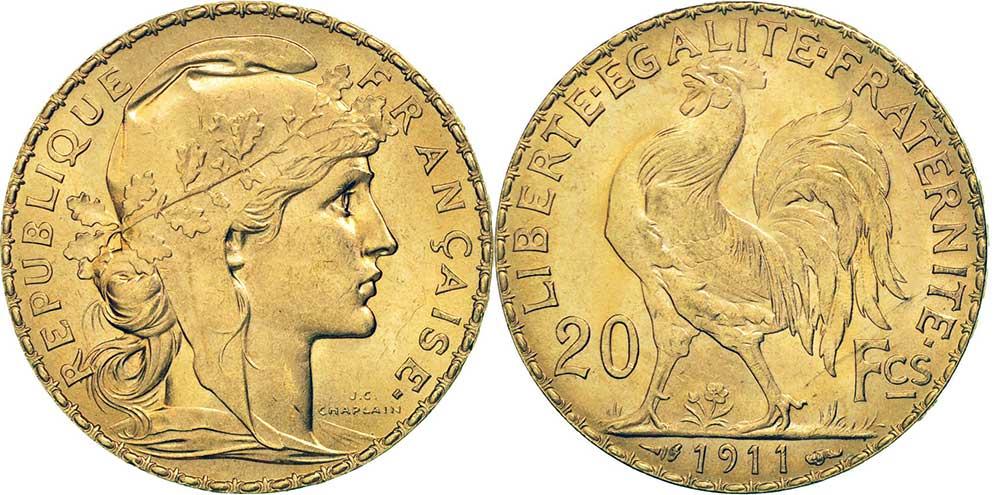 Avers y Revers de la copie de la 20 Francs en Or Coq Marianne 1911. Le napoleon or 1911 est une Pièce d'Or francaise de 5,80 gramme d'or fin d'un diamètre de 21,0 mm.