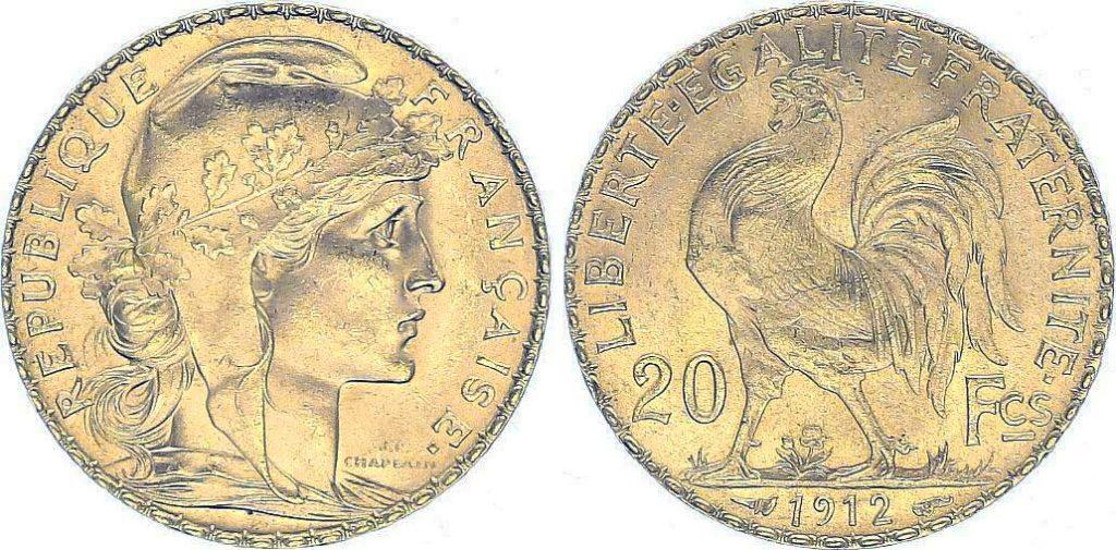 Cara y cruz de la moneda de oro francesa de 20 Francos Marianne 1912. El Napoleón de 1912 o es una moneda de oro francesa con 5,80 Gramos de oro fino y un diámetro de 21,0 mm.