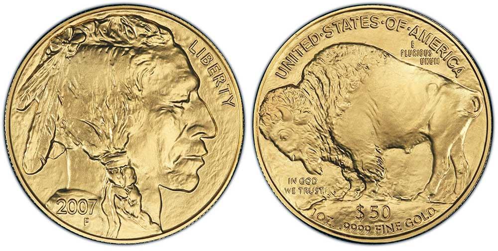 """Avers y revers de la pìèce en or """"american buffalo"""" d'une once d'or millesime 2007. La pièce d'or """"Buffalo Américain"""" 2007 est en or 24 carats soit 100% d'or."""