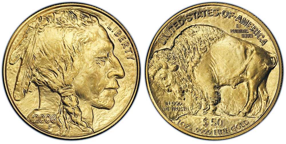 """Avers y revers de la pìèce en or """"american buffalo"""" d'une once d'or millesime 2008. La pièce d'or """"Buffalo Américain"""" 2008 est en or 24 carats soit 100% d'or."""