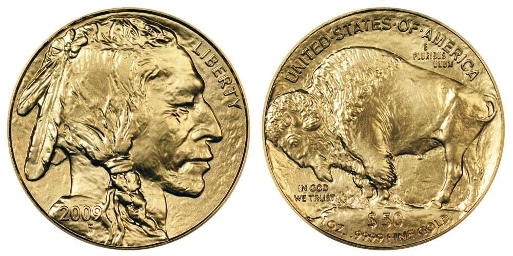 """Avers y revers de la pìèce en or """"american buffalo"""" d'une once d'or millesime 2009. La pièce d'or """"Buffalo Américain"""" 2009 est en or 24 carats soit 100% d'or."""