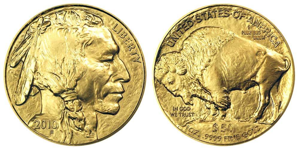 """Avers y revers de la pìèce en or """"american buffalo"""" d'une once d'or millesime 2010. La pièce d'or """"Buffalo Américain"""" 2010 est en or 24 carats soit 100% d'or."""
