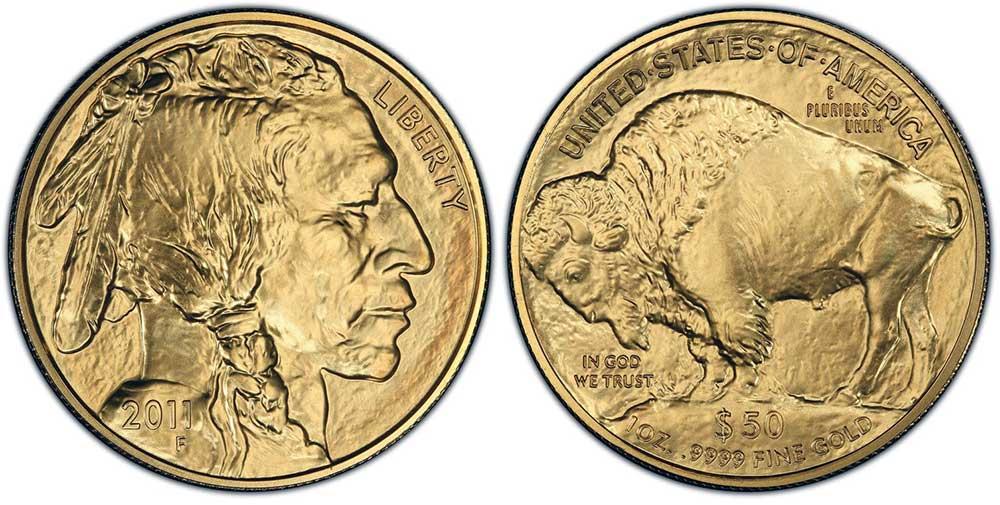"""Avers y revers de la pìèce en or """"american buffalo"""" d'une once d'or millesime 2011. La pièce d'or """"Buffalo Américain"""" 2011 est en or 24 carats soit 100% d'or."""