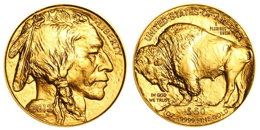 """Avers y revers de la pìèce en or """"american buffalo"""" d'une once d'or millesime 2012. La pièce d'or """"Buffalo Américain"""" 2012 est en or 24 carats soit 100% d'or."""