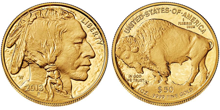 """Avers y revers de la pìèce en or """"american buffalo"""" d'une once d'or millesime 2013. La pièce d'or """"Buffalo Américain"""" 2013 est en or 24 carats soit 100% d'or."""