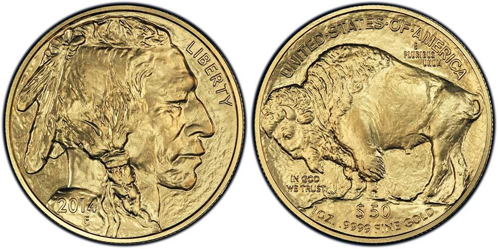 """Avers y revers de la pìèce en or """"american buffalo"""" d'une once d'or millesime 2014. La pièce d'or """"Buffalo Américain"""" 2014 est en or 24 carats soit 100% d'or."""