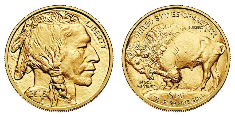 """Avers y revers de la pìèce en or """"american buffalo"""" d'une once d'or millesime 2015. La pièce d'or """"Buffalo Américain"""" 2015 est en or 24 carats soit 100% d'or."""