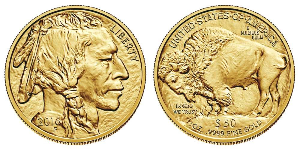 """Avers y revers de la pièce en or """"american buffalo"""" d'une once d'or millesime 2016. La pièce d'or """"Buffalo Américain"""" 2016 est en or 24 carats soit 100% d'or."""