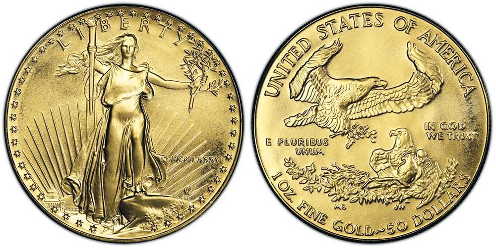 """Avers y revers de la pìèce en or """"american eagle"""" d'une once d'or millesime 1986. La pièce d'or Aigle Américain 1986 est en or 22 carats soit 91,67% d'or."""