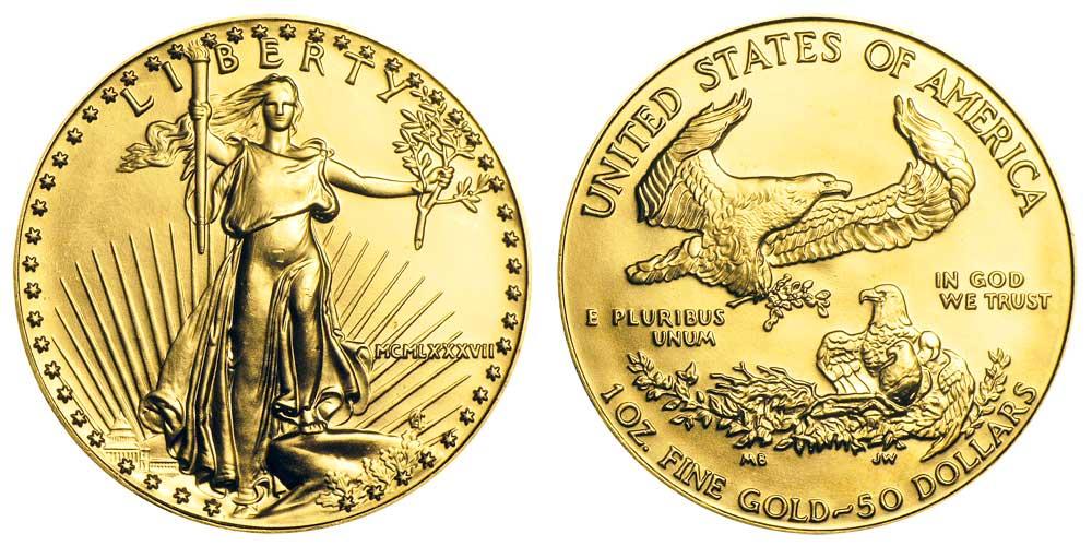 """Avers y revers de la pìèce en or """"american eagle"""" d'une once d'or millesime 1987. La pièce d'or Aigle Américain 1987 est en or 22 carats soit 91,67% d'or."""