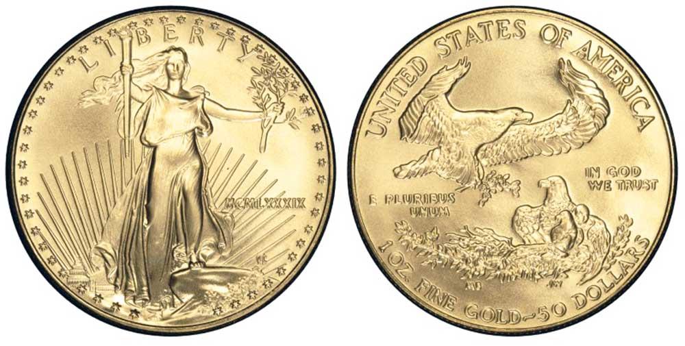 """Avers y revers de la pìèce en or """"american eagle"""" d'une once d'or millesime 1989. La pièce d'or Aigle Américain 1989 est en or 22 carats soit 91,67% d'or."""