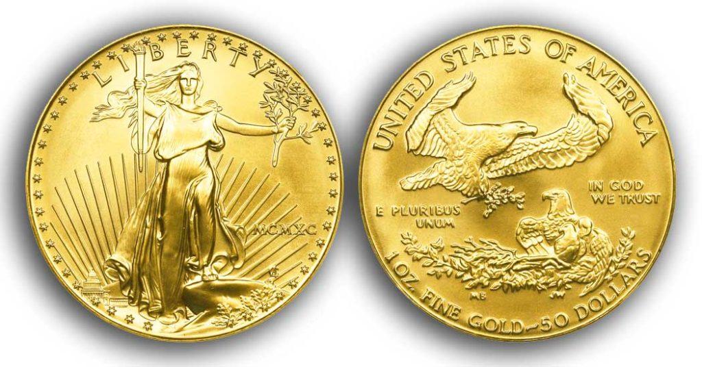 """Avers y revers de la pièce en or """"american eagle"""" d'une once d'or millesime 1990. La pièce d'or Aigle Américain 1990 est en or 22 carats soit 91,67% d'or."""