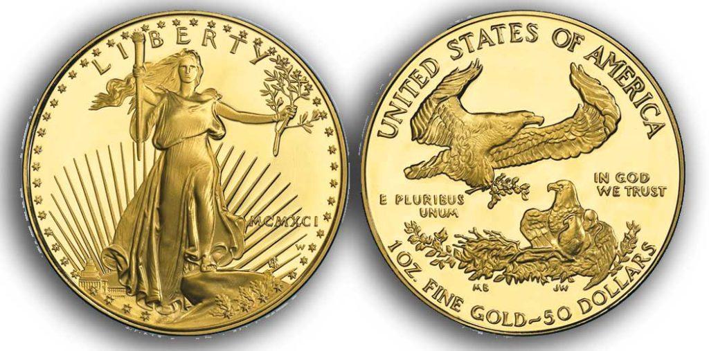 """Avers y revers de la pièce en or """"american eagle"""" d'une once d'or millesime 1991. La pièce d'or Aigle Américain 1991 est en or 22 carats soit 91,67% d'or."""