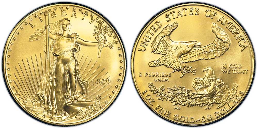 """Avers y revers de la pìèce en or """"american eagle"""" d'une once d'or millesime 1992. La pièce d'or Aigle Américain 1992 est en or 22 carats soit 91,67% d'or."""