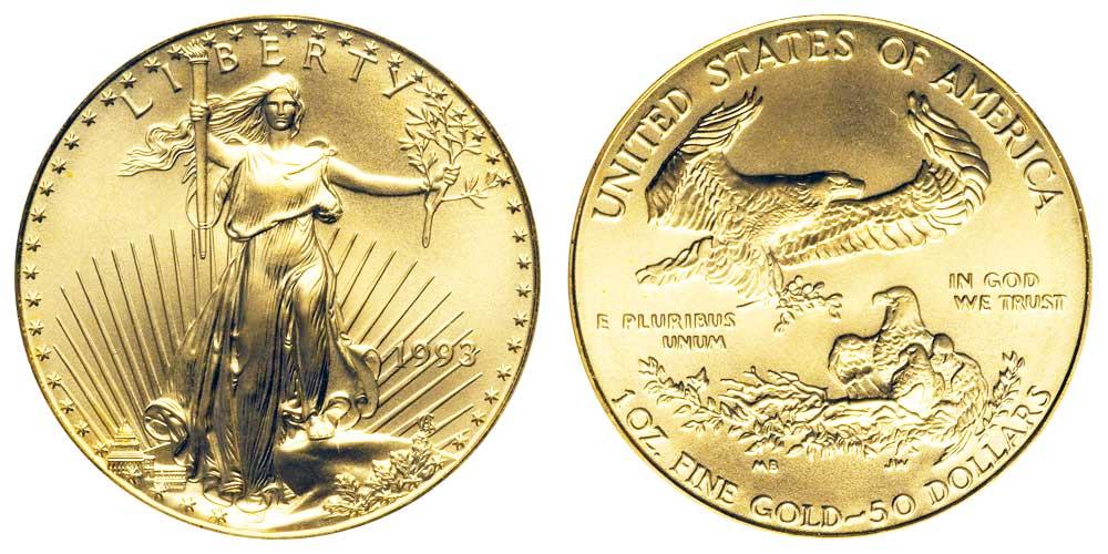 """Avers y revers de la pìèce en or """"american eagle"""" d'une once d'or millesime 1993. La pièce d'or Aigle Américain 1993 est en or 22 carats soit 91,67% d'or."""