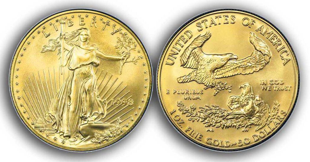 """Avers y revers de la pièce en or """"american eagle"""" d'une once d'or millesime 1998. La pièce d'or Aigle Américain 1998 est en or 22 carats soit 91,67% d'or."""