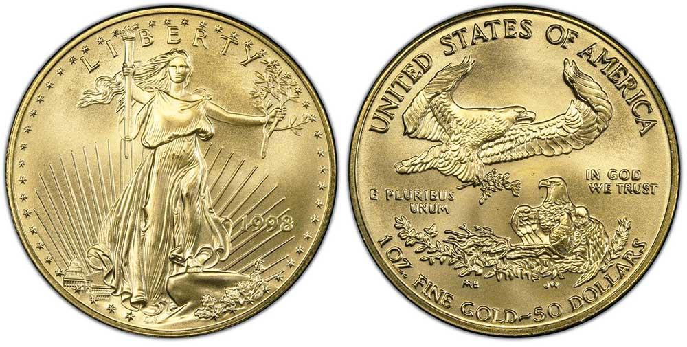 """Avers y revers de la pìèce en or """"american eagle"""" d'une once d'or millesime 1998. La pièce d'or Aigle Américain 1998 est en or 22 carats soit 91,67% d'or."""