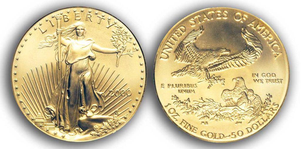"""Avers y revers de la pièce en or """"american eagle"""" d'une once d'or millesime 2000. La pièce d'or Aigle Américain 2000 est en or 22 carats soit 91,67% d'or."""
