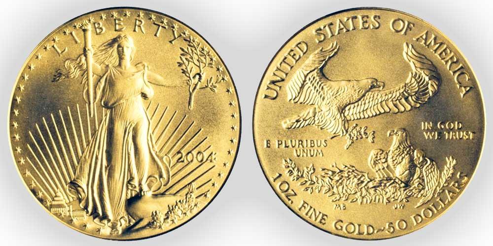 """Avers y revers de la pìèce en or """"american eagle"""" d'une once d'or millesime 2004. La pièce d'or Aigle Américain 2004 est en or 22 carats soit 91,67% d'or."""