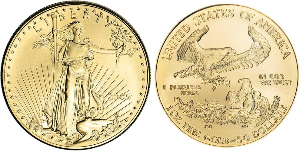 """Avers y revers de la pìèce en or """"american eagle"""" d'une once d'or millesime 2005. La pièce d'or Aigle Américain 2005 est en or 22 carats soit 91,67% d'or."""