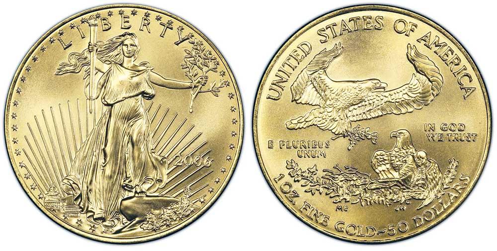 """Avers y revers de la pìèce en or """"american eagle"""" d'une once d'or millesime 2006. La pièce d'or Aigle Américain 2006 est en or 22 carats soit 91,67% d'or."""