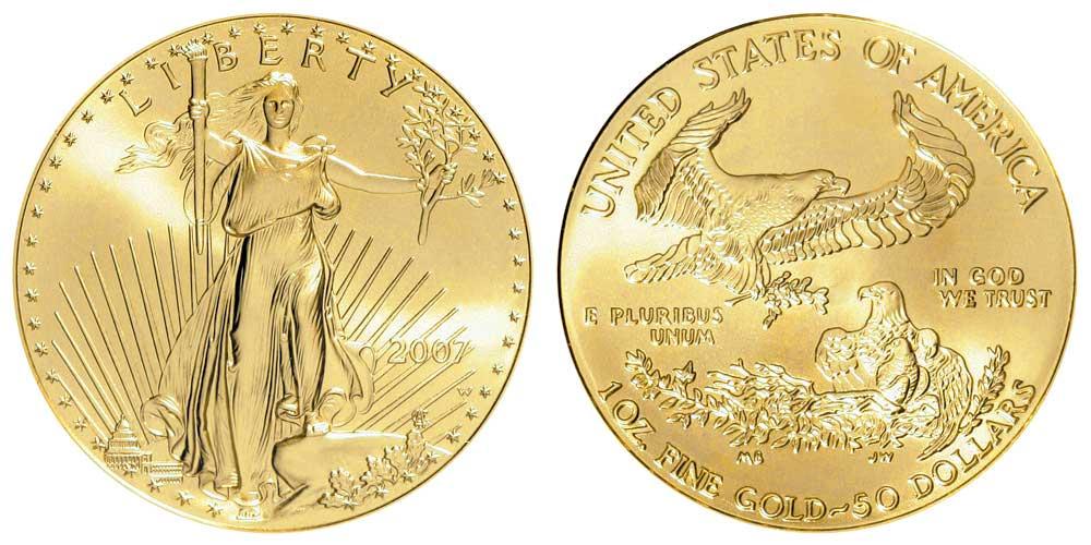 """Avers y revers de la pìèce en or """"american eagle"""" d'une once d'or millesime 2007. La pièce d'or Aigle Américain 2007 est en or 22 carats soit 91,67% d'or."""