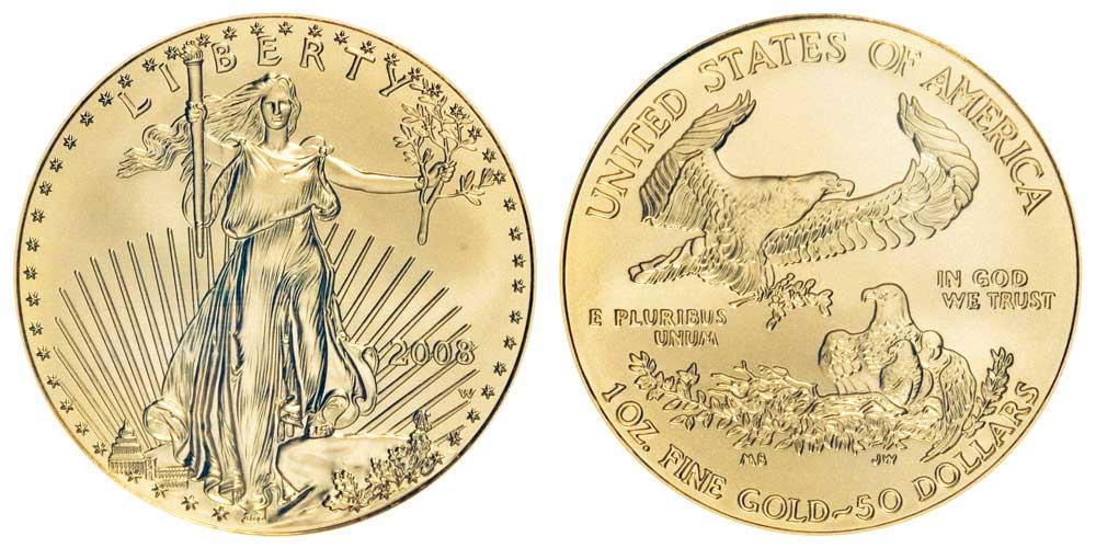"""Avers y revers de la pìèce en or """"american eagle"""" d'une once d'or millesime 2008. La pièce d'or Aigle Américain 2008 est en or 22 carats soit 91,67% d'or."""