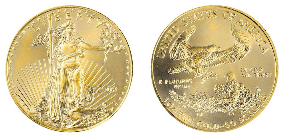 """Avers y revers de la pìèce en or """"american eagle"""" d'une once d'or millesime 2009. La pièce d'or Aigle Américain 2009 est en or 22 carats soit 91,67% d'or."""